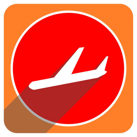 arrivals: arrivals red flat icon isolated