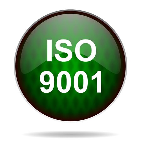 iso 9001 green internet icon photo