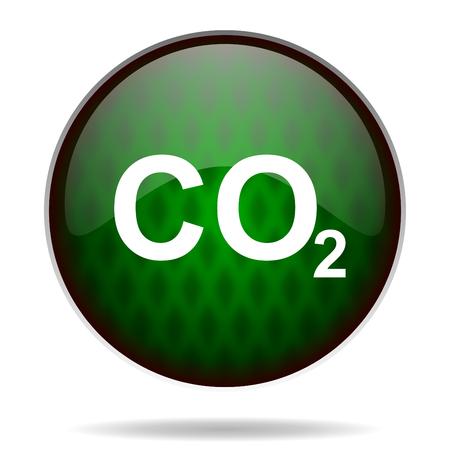 carbon dioxide: carbon dioxide green internet icon Stock Photo