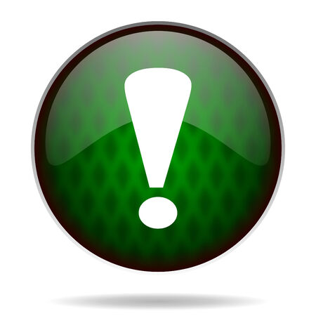 exclamation sign: exclamation sign green internet icon Stock Photo