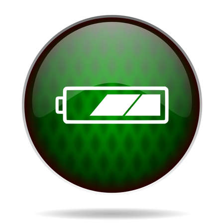 accuse: battery green internet icon Stock Photo