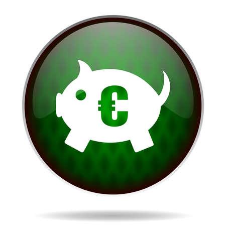 piggy bank green internet icon photo