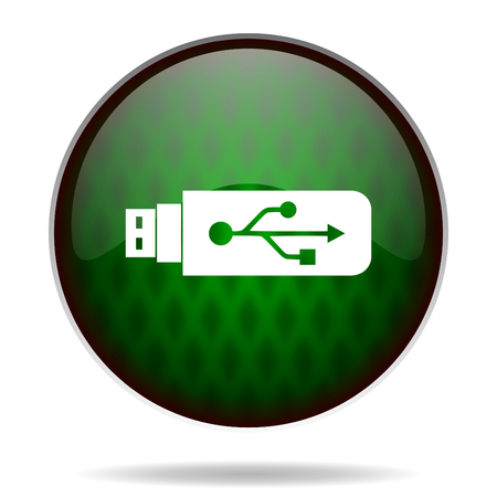 usb green internet icon photo