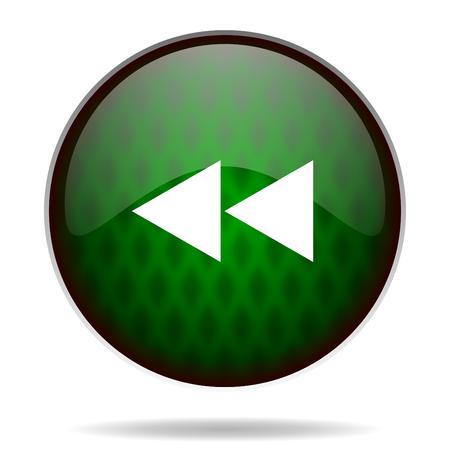 rewind: rewind green internet icon