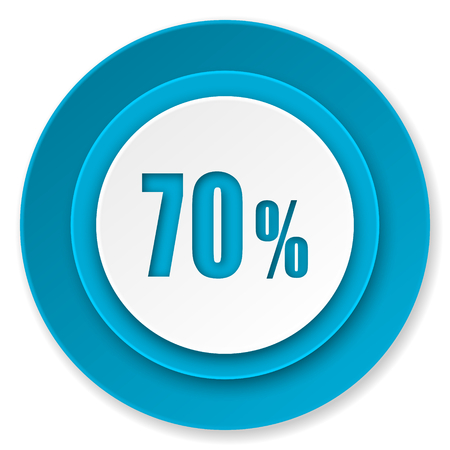 70: 70 percent icon, sale sign