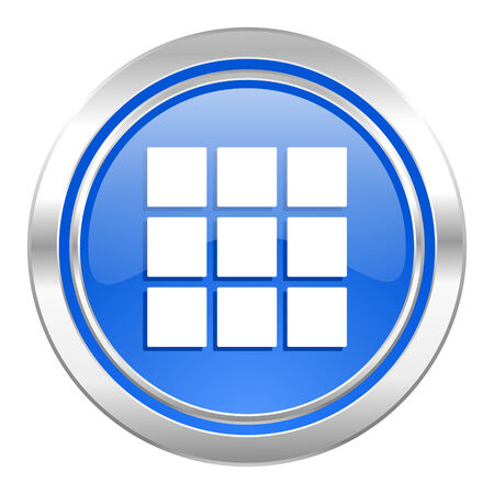 thumbnails: thumbnails grid icon, blue button, gallery sign Stock Photo