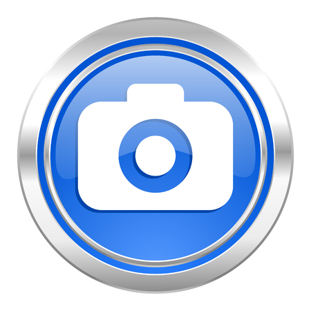 photo camera icon, blue button, photography sign photo