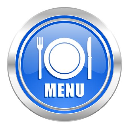 menu icon: menu icon, blue button, restaurant sign