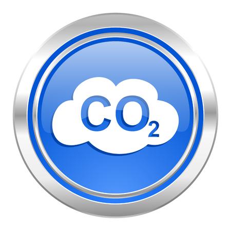 co2: carbon dioxide icon, blue button, co2 sign Stock Photo