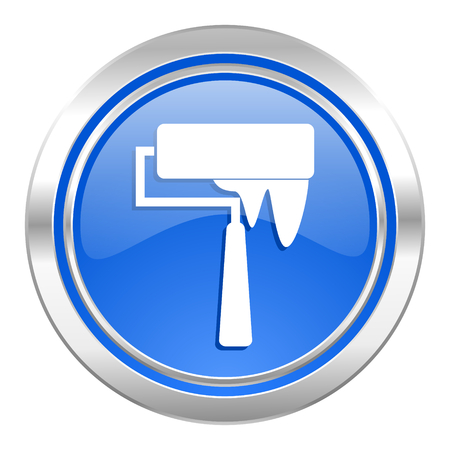 brush icon, blue button, paint sign photo