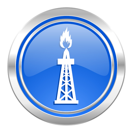 gas icon, blue button, oil sign photo