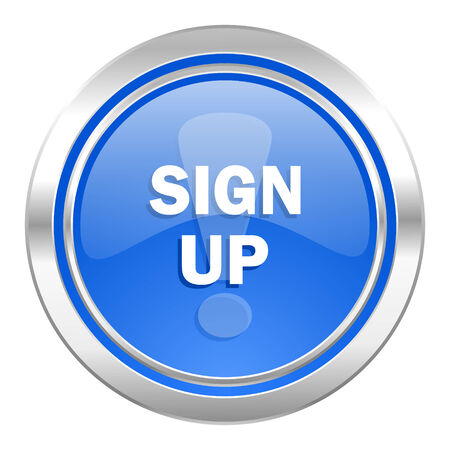 sign up icon: sign up icon, blue button