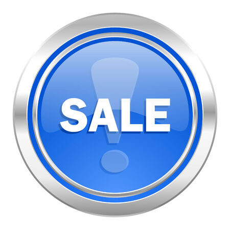 sale icon: sale icon, blue button Stock Photo