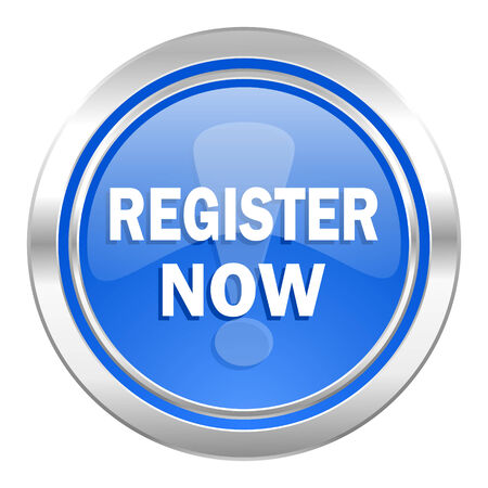 register now icon, blue button photo