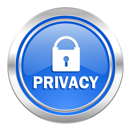 privacy icon, blue button Stock Photo