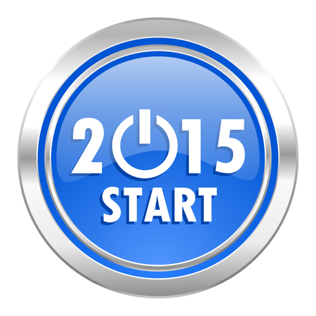 new year 2015 icon, blue button, new years symbol photo