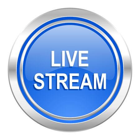 live stream tv: live stream icon, blue button Stock Photo