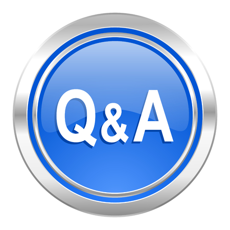 question and answer: question answer icon, blue button