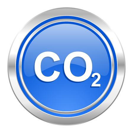 dioxido de carbono: icono de di�xido de carbono, el bot�n azul, signo de co2 Foto de archivo