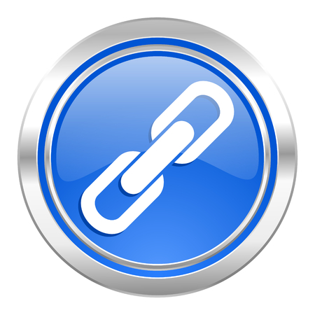 link icon: link icon, blue button, chain sign Stock Photo