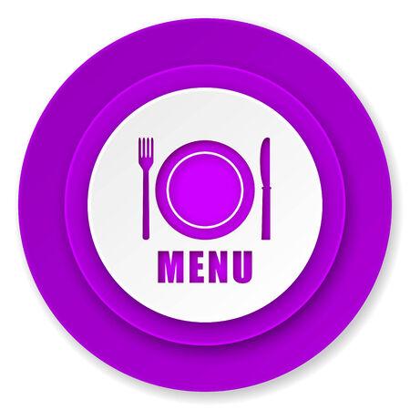 menu icon: menu icon, violet button, restaurant sign Stock Photo