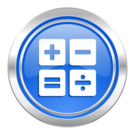 calculator icon, blue button, calc sign photo