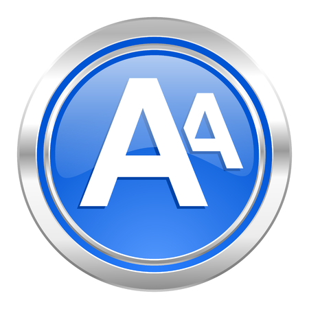 alphabet icon, blue button photo