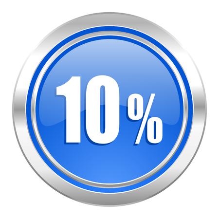 10 percent icon, blue button, sale sign photo