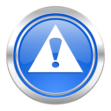 exclamation sign: exclamation sign icon, blue button, warning sign, alert symbol Stock Photo