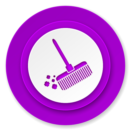 broom icon, violet button, clean sign photo
