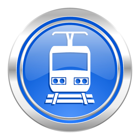 train icon, blue button, public transport sign photo