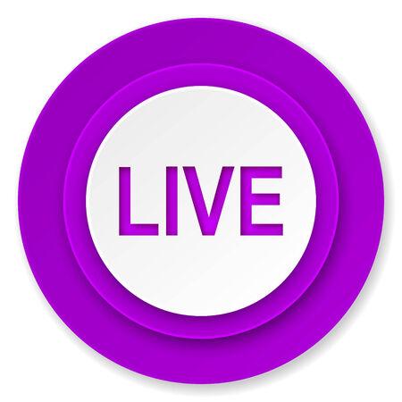 live icon, violet button