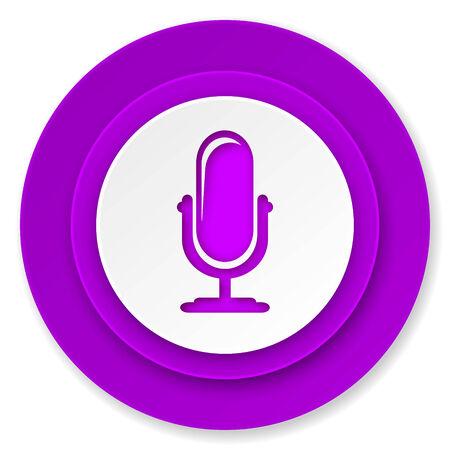 podcast: microphone icon, violet button, podcast sign