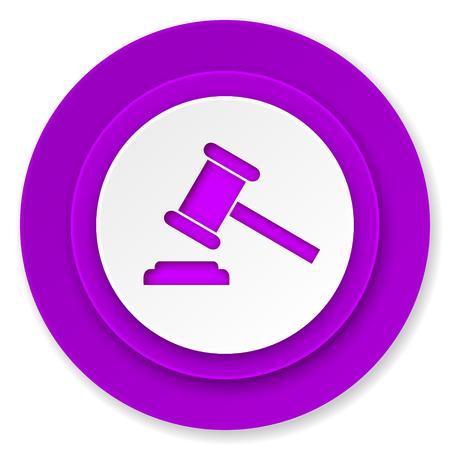 verdict: auction icon, violet button, court sign, verdict symbol Stock Photo