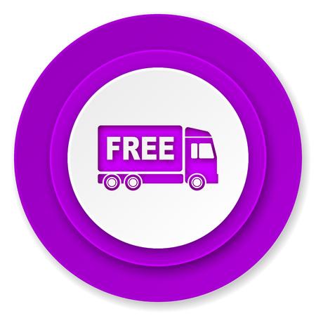 d�livrance: gratuit ic�ne de la livraison, le bouton violet, signe de transport Banque d'images