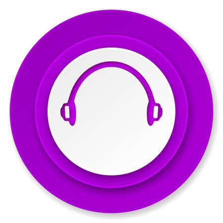 headphones icon, violet button photo