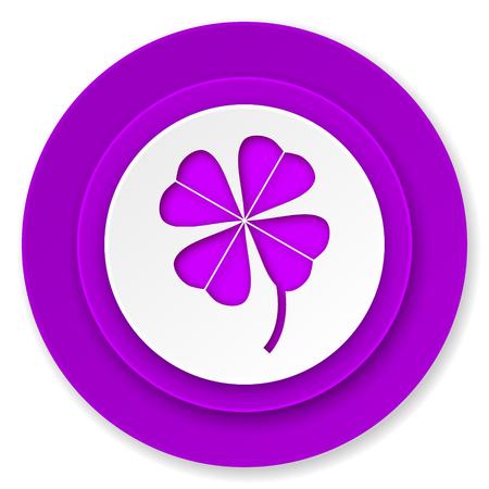 fourleaf: four-leaf clover icon, violet button Stock Photo