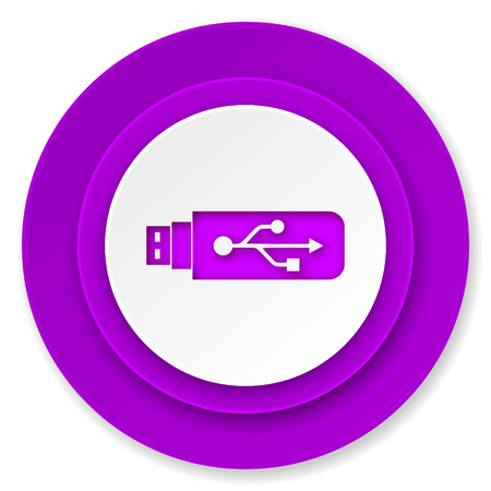 flash memory: usb icon, violet button, flash memory sign Stock Photo