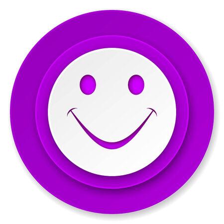 new yea: smile icon, violet button Stock Photo