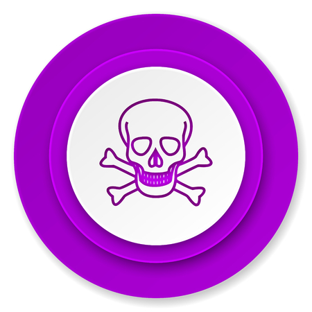 pirating: skull icon, violet button, death sign