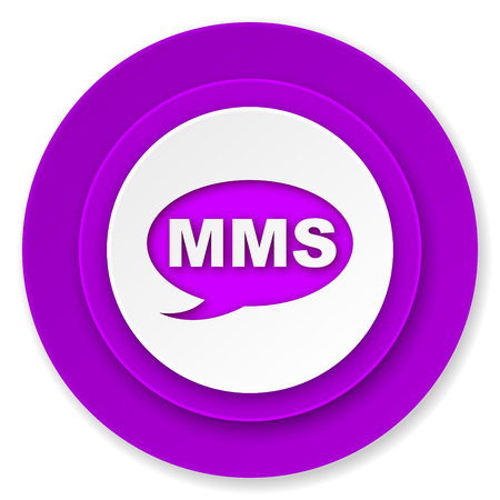 mms icon: mms icon, violet button, message sign Stock Photo