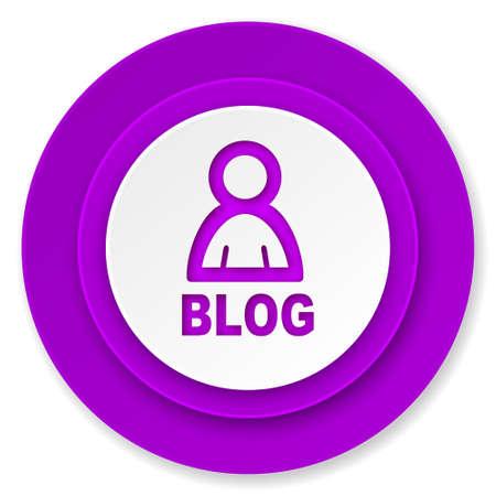 blog icon: blog icon, violet button Stock Photo