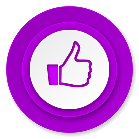 like icon: like icon, violet button, thumb up sign