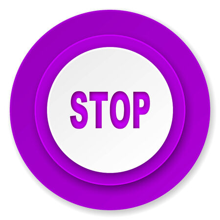 proscribed: stop icon, violet button Stock Photo