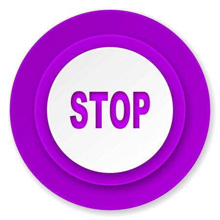 stop icon: stop icon, violet button Stock Photo