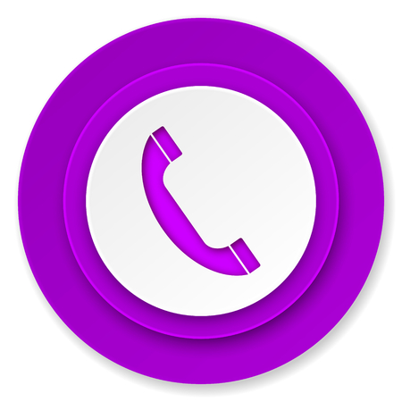 phone icon, violet button, telephone sign photo