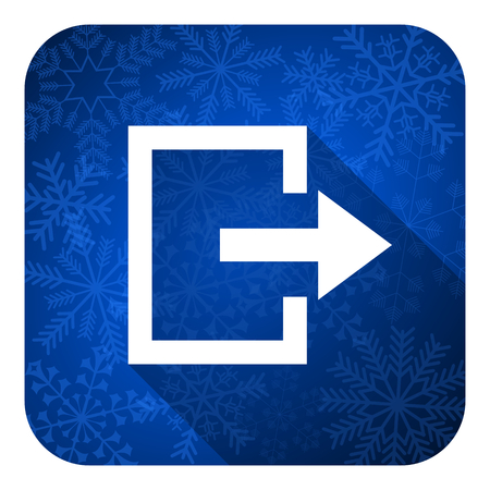 exit button: exit flat icon, christmas button