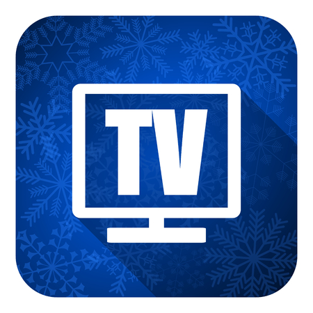 programm: tv flat icon, christmas button, television sign Stock Photo