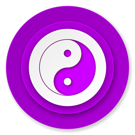 ying and yang: ying yang icon, violet button