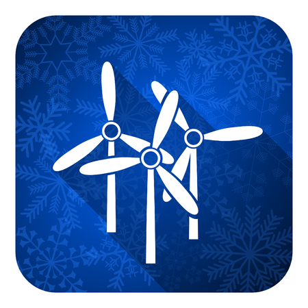 windmill flat icon, christmas button, renewable energy sign photo